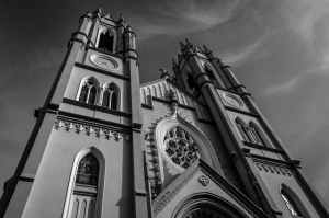 grayscale photo of chapel